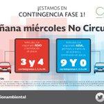 Mañana miércoles no circulan vehículos con engomado rojo y azul con terminación 3, 4 y 9, 0, holograma 1, 2, 0 y 00 https://t.co/kUOAQVevHG