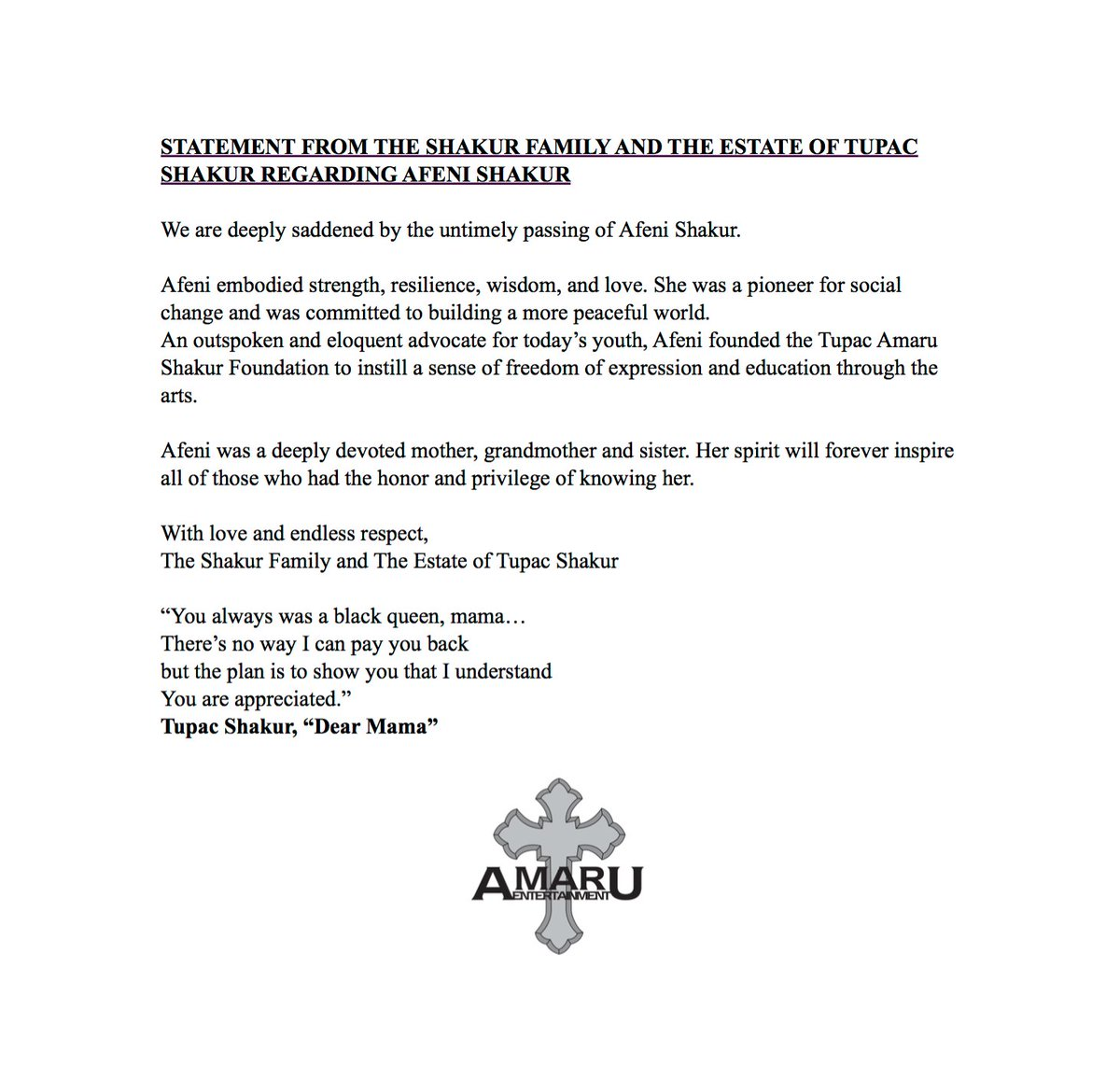 STATEMENT FROM THE SHAKUR FAMILY AND THE ESTATE OF TUPAC SHAKUR REGARDING AFENI SHAKUR https://t.co/WBJkjRchNP