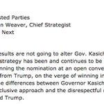 John Weaver — Kasichs chief strategist — says Trumps win wont alter Kasichs plans. https://t.co/MQYOVHyTKp