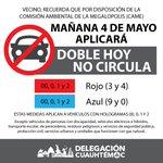 Vecinos, debido a la Contingencia Ambiental mañana aplicará el «Doble Hoy No Circula». Tomen precauciones https://t.co/jj3a236gFY