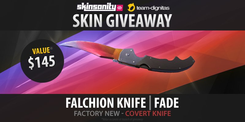 ★ Falchion Knife | Fade (Factory New) Giveaway!  Retweet & follow, enter here: https://t.co/ahBWknzXB1 @SkinsanityGG https://t.co/LyzKwWseFh