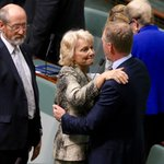 An emotional hug with the Speaker after her valedictory speech #auspol @abcnews @ABCNews24 https://t.co/vbo8Ti6UwO