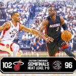 Miami takes Game 1! Heat outlast Raptors in OT to take the series opener, 102-96. Wade: 24 Pts, 6 Reb, 4 Ast https://t.co/sGgTUzBQXK