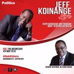 #AskKidero Tonight the Bench is going to be on FIRE as @KoinangeJeff hosts Nairobi Governor @KideroEvans  🔥🔥🔥 https://t.co/y3G74YYFWC
