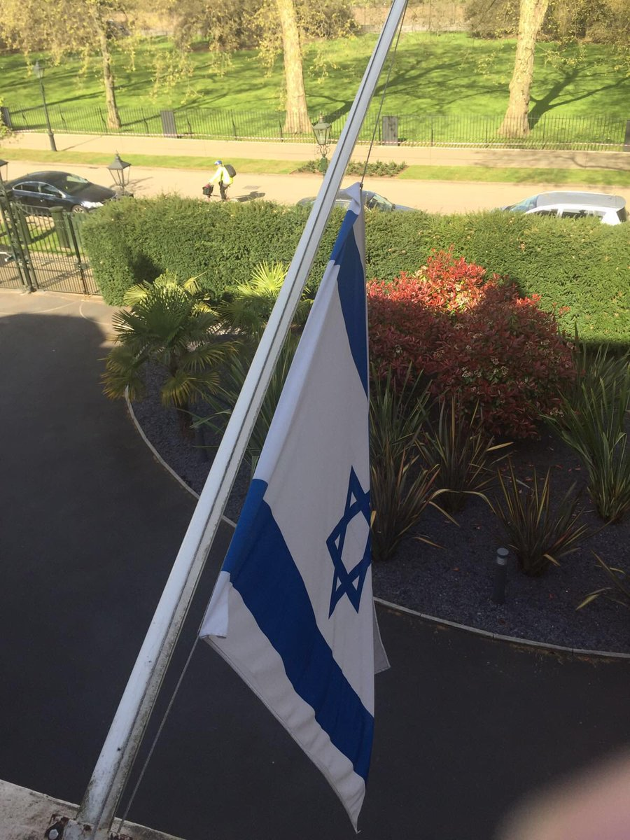 Our flag at half mast to remember the 6 million Jews murdered in the Holocaust #YomHashoah https://t.co/k9dzaqzAQy