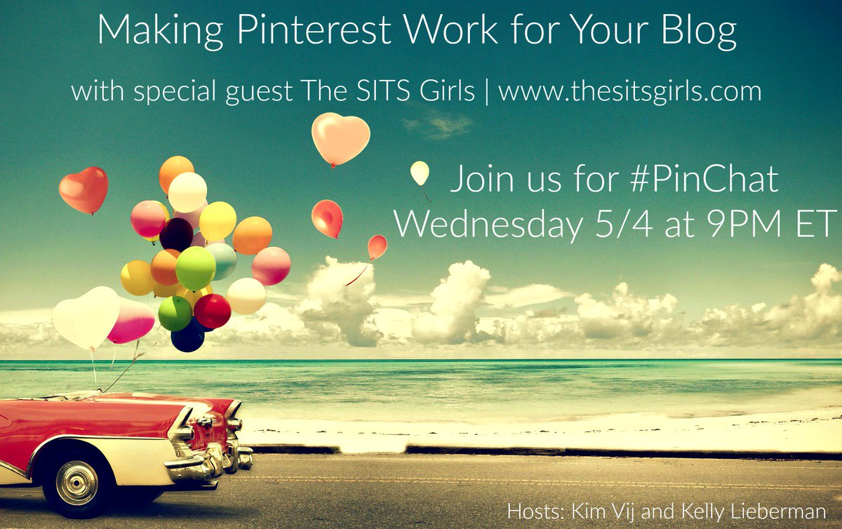 Want to learn how to make @Pinterest work for your blog? Join #PinChat tonight at 9PM ET with @SITSGirls https://t.co/LzhgR5cmaH