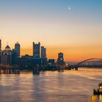 A towboat heads towards #Pittsburgh on the Ohio River as a crescent moon hangs overhead at dawn https://t.co/RShgTvJzGK