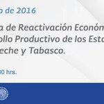 El Presidente @EPN anunciará el Programa de Reactivación Económica y Desarrollo Productivo de #Tabasco y #Campeche. https://t.co/OUe5FYWGjx