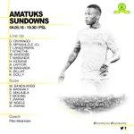 #Sundowns starting line up. for our PSL clash against AMATUKS, Kick off: 19:30 #Sundowns #DownsLive https://t.co/9Yl6K9ImVA