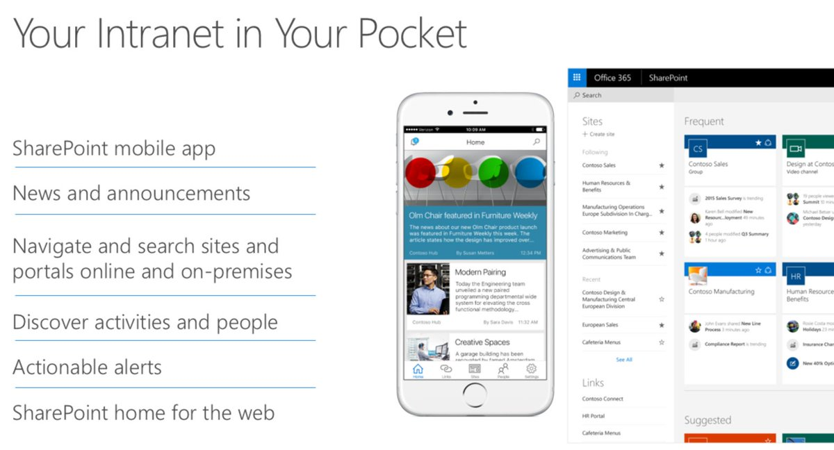 SharePoint Mobile is here and puts the intranet in your pocket!  https://t.co/k8Nl1Z5H19 #FutureofSharePoint https://t.co/R14Rc5nXpD