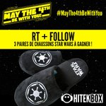 RT & FOLLOW ! 3 Paires de chaussons Star Wars à gagner ! Tirage demain à 10h30 ! #MayThe4thBeWithYou #Hitekbox https://t.co/mQ5ATVy9An