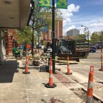 Construction for new protected @TowpathTrail bike lane in @downtownakron. I believe it will be first of many. #Akron https://t.co/ZkU7ILQrgN