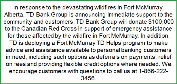 TD announces a $100,000 donation in support of Fort McMurray https://t.co/KuNZd7LMth https://t.co/L1nEQ358Fv