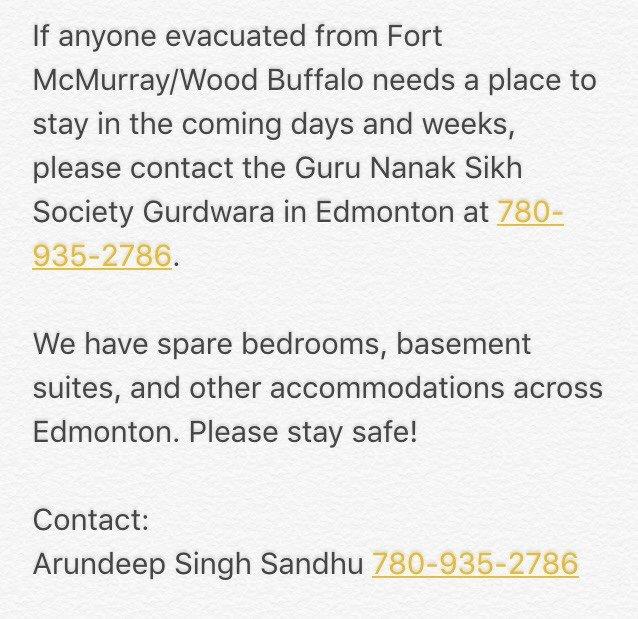 Guru Nanak Sikh Society Gurdwara in Edmonton is open to any1 for shelter or food.   #FortMcMurray #FortMacFire https://t.co/LDO6Y5fgoE
