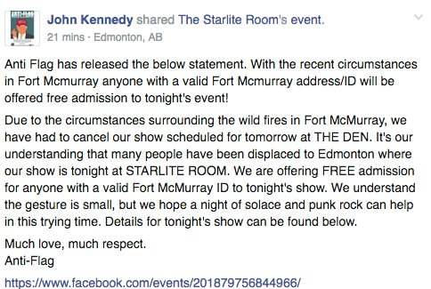 Anyone with a valid Fort Mac ID can attend TONIGHT's @anti_flag's show @StarliteRoom for free. #ymmfires https://t.co/4EzolXZrWm
