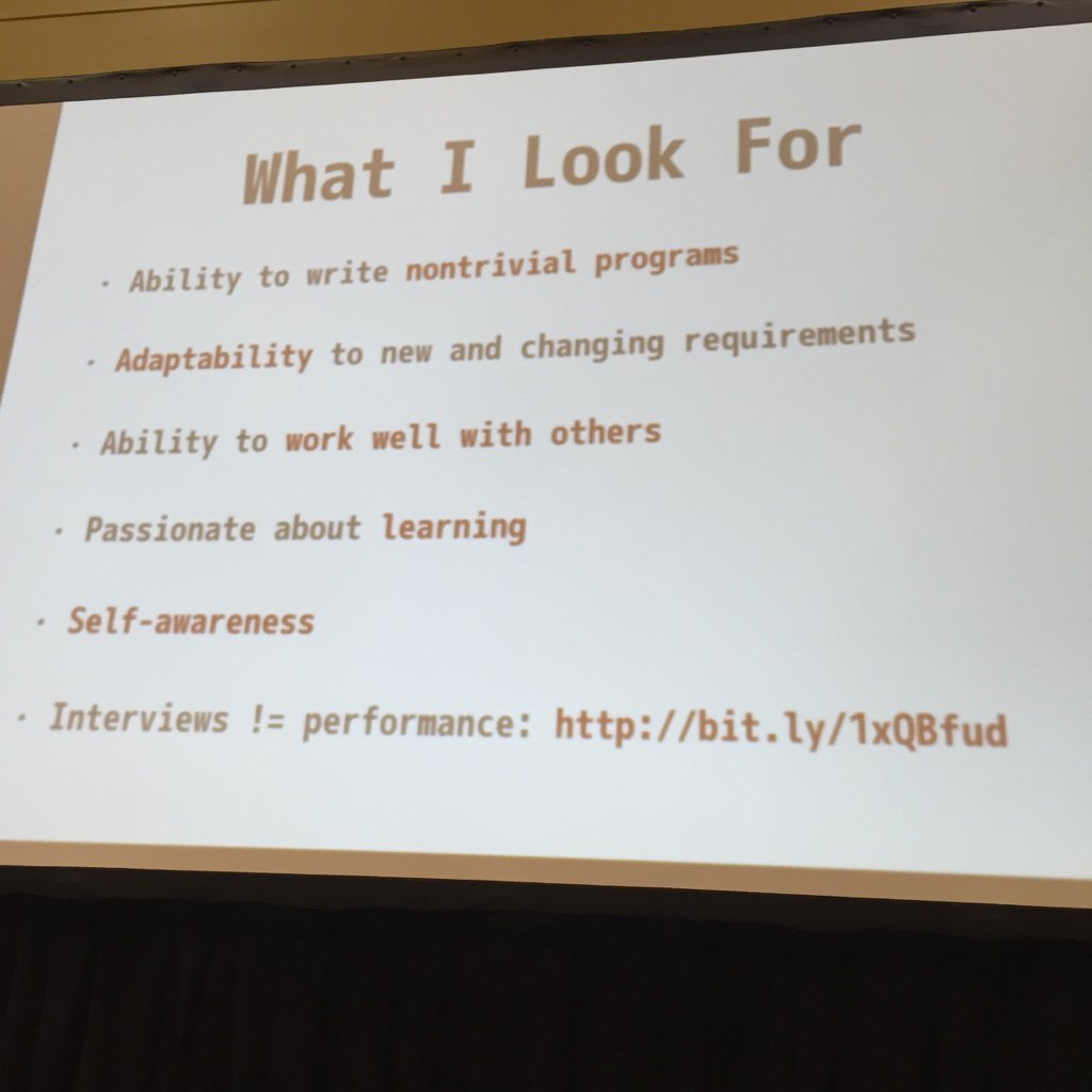 What Hulu looks for when interviewing (boot camp and non-traditional routes). #railsconf https://t.co/poYsXp3Jgq