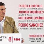 Será en Mérida con @GFVara @sanchezcastejon @arosuna @Estrella_gv @PsoeBadajozCEP @psoeex @PSOE https://t.co/uUrkNb8MQZ