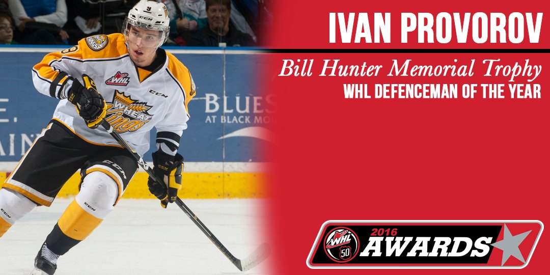 Congrats to @bdnwheatkings' Ivan Provorov, the #WHL Defenceman of the Year! #WHLAwards https://t.co/lN0g67T76K