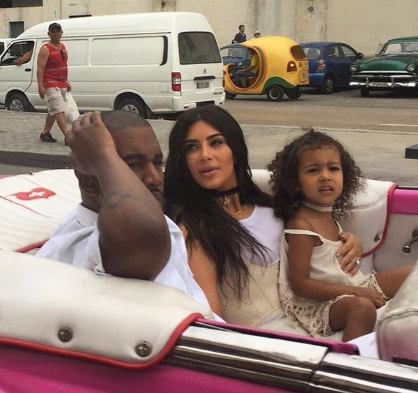 Kanye, Kim and North out in Havana, Cuba today.