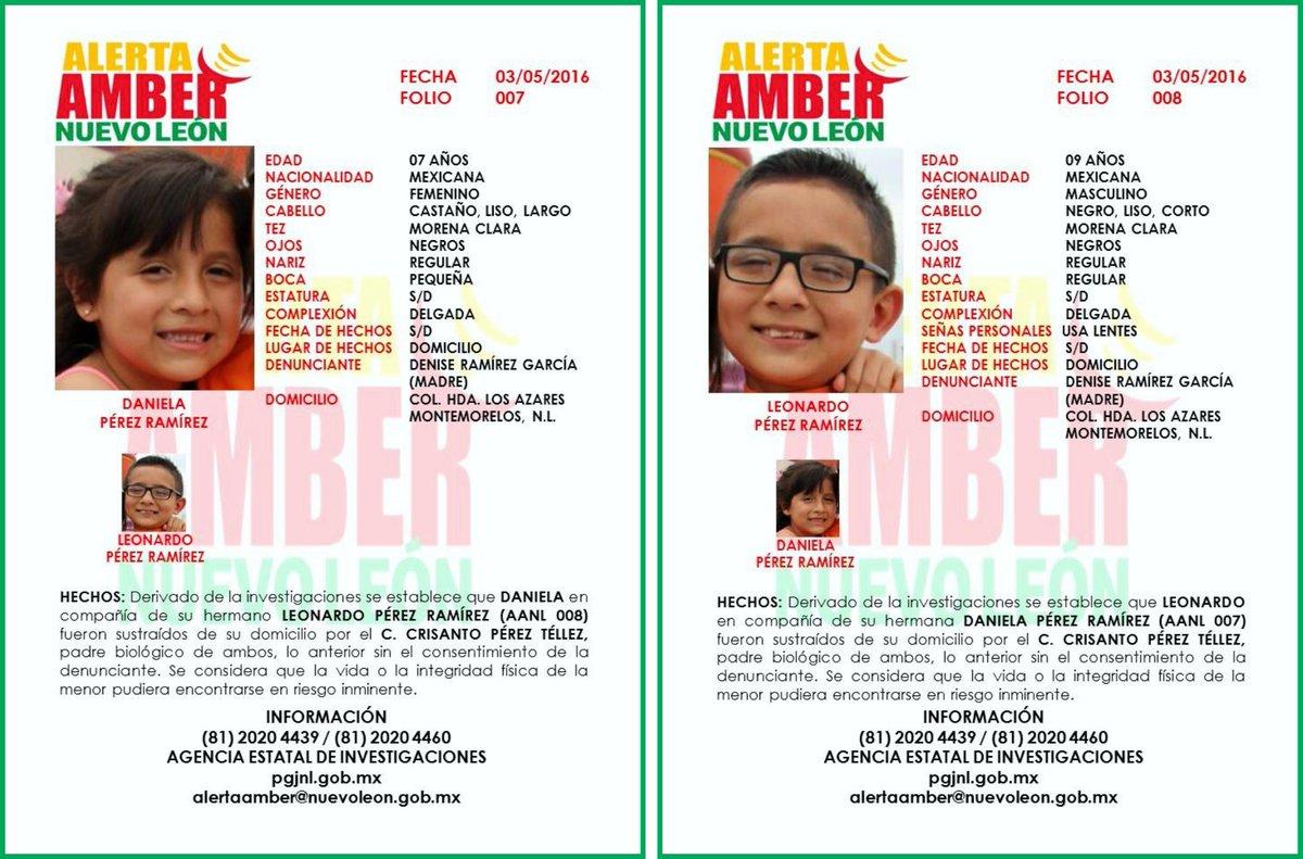 #AlertaAmberNL Ayúdanos a localizar a los menores Daniela Pérez Ramírez y Leonardo Pérez Ramírez. https://t.co/0uNFzsL5Lj