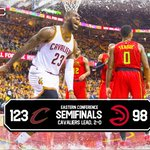 HISTORY! Cavs finish game with an NBA-record 25 three-pointers to defeat the Hawks, 123-98. https://t.co/JBBTkUx4uN
