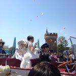 ランド内の凄い人数のお客さんから祝福されている二人(*^_^*)完全に主役! #西又葵・三宅淳一結婚式 https://t.co/r3KTLjp3uA
