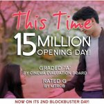 15 Million in 200 cinemas only! Thank you God! You never fail me. ❤ #ThisTimeBlockbusterDay2 https://t.co/BK3bUqSCqX