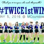 [!] 160505 Congratulations TWICE! finally #TWICE1stWin with #CheerUp! TWICE X ONCE forever! @JYPETWICE https://t.co/wyiJDUPcsK