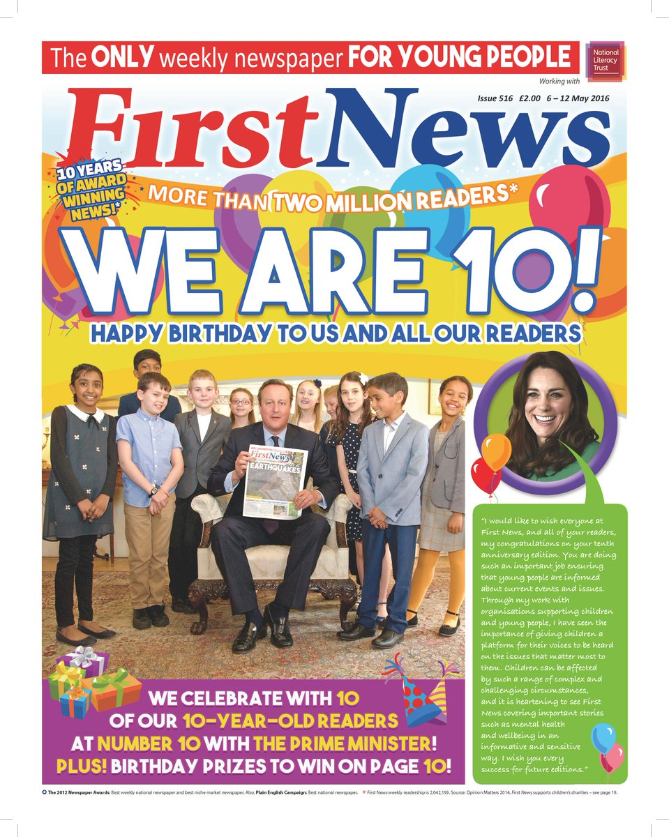 Huge thanks to the Duchess of Cambridge for her @First_News birthday tribute which you can read on our front page. https://t.co/KeYyMin1t9