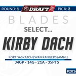 With the 2nd overall pick. The Blades are proud to select, from the Fort Saskatchewan Rangers (AMHL), Kirby Dach. https://t.co/snOYVtVhtP