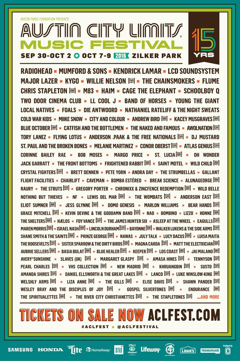 The wait is over, see who's performing for #ACLFest's 15th year! 3-Day tix on sale at 10am. https://t.co/ECCRiL2Zca https://t.co/0Rjvdnu7lt