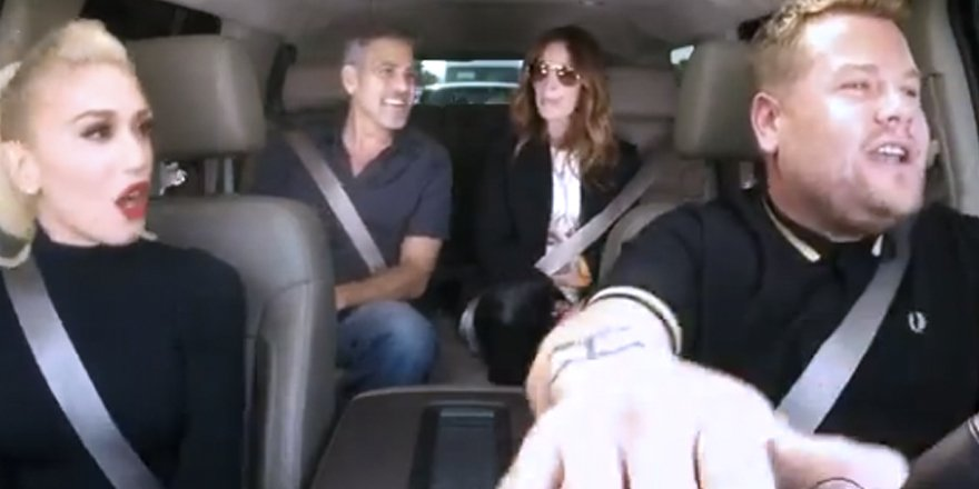 .@gwenstefani let George Clooney and Julia Roberts hitch a ride for her CarpoolKaraoke!