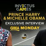 MONDAY ON @GMA: @RobinRoberts interviews @FLOTUS Michelle Obama and Prince Harry at the @WeAreInvictus Games. https://t.co/SEcvJnwFwd