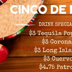Its #CincoDeMayo, but in here its #TacoThursday & Cinco de Drinko! 3/$1 Tacos and drink specials start at 6pm! https://t.co/AGqamDzoGw