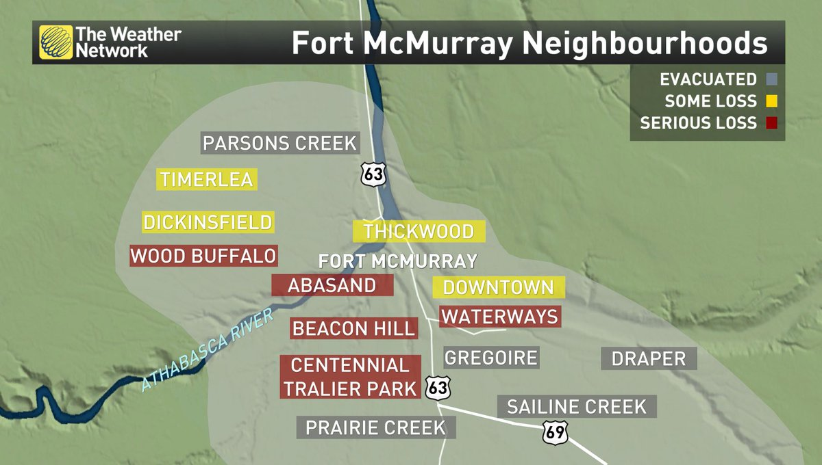A recent update on the status of surrounding neighborhoods of Fort McMurray due to the fires. #FortMacFire #yymfire https://t.co/U6XrzOa0SU