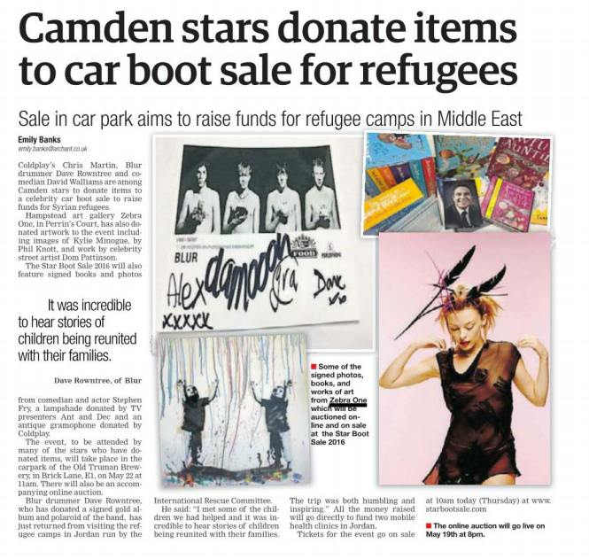 - @HamandHigh on @zebra1gallery teaming with @DaveRowntree on #StarBootSale to raise money for Syrian refugees https://t.co/fpgNp60fzQ