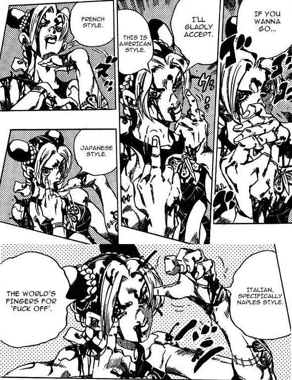 I mean, what other character teaches you things like how to flip people off around the world? #Jojo https://t.co/eMQxJZ3AzO