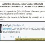 Así insultan al Presidente Evo Morales en twitter en nombre de la libertad de expresión: https://t.co/CEvbROECTW https://t.co/IgMQvXFPgP
