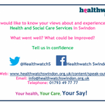 #swindonhour We want to hear your views of health & care services in #Swindon https://t.co/CUZO68YgC7 #haveyoursay https://t.co/GyvBqvuDYl