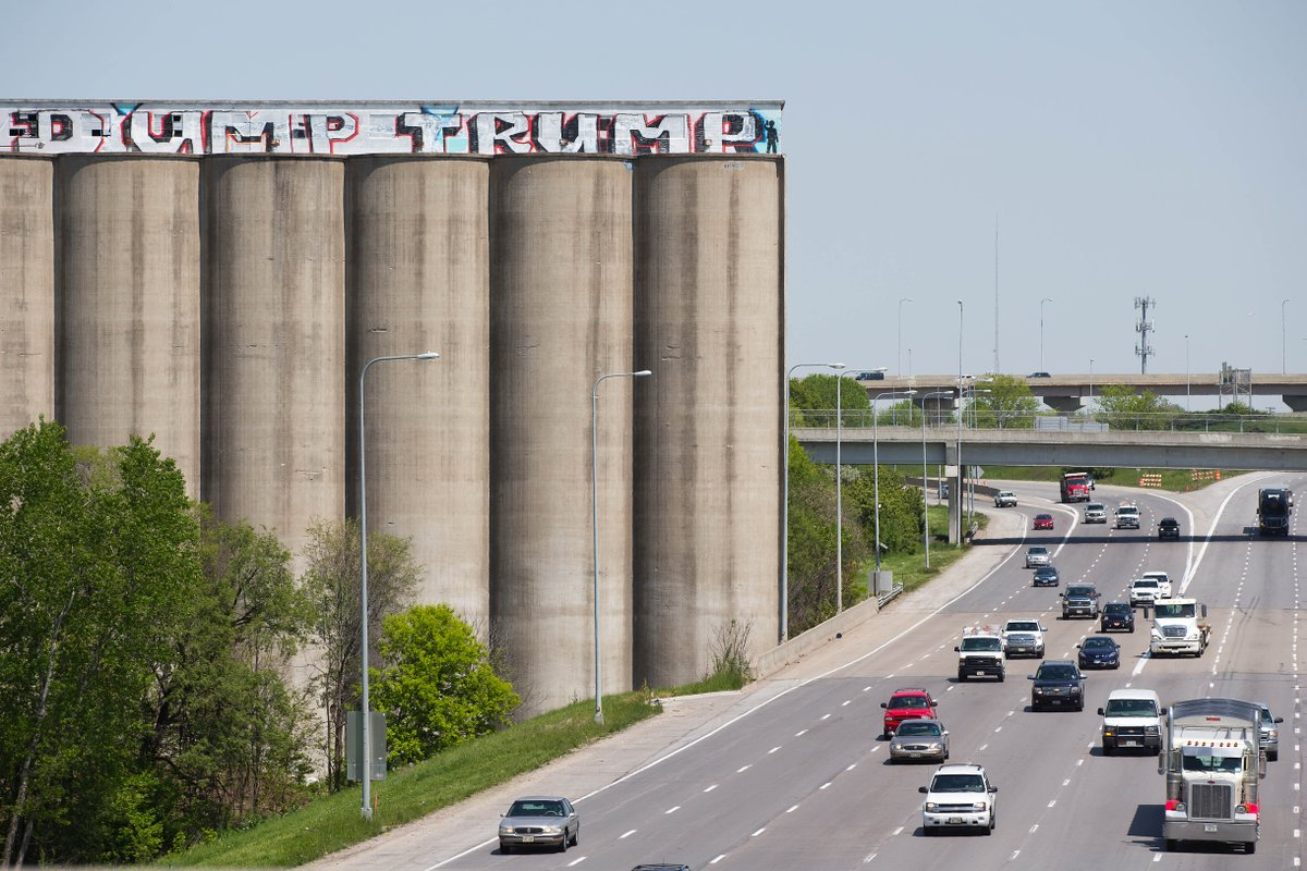 Ahead of Omaha rally, 'Dump Trump' graffiti appears atop grain elevators flanking I-80 https://t.co/RSROSIyRPF https://t.co/6dt8xj5U0k