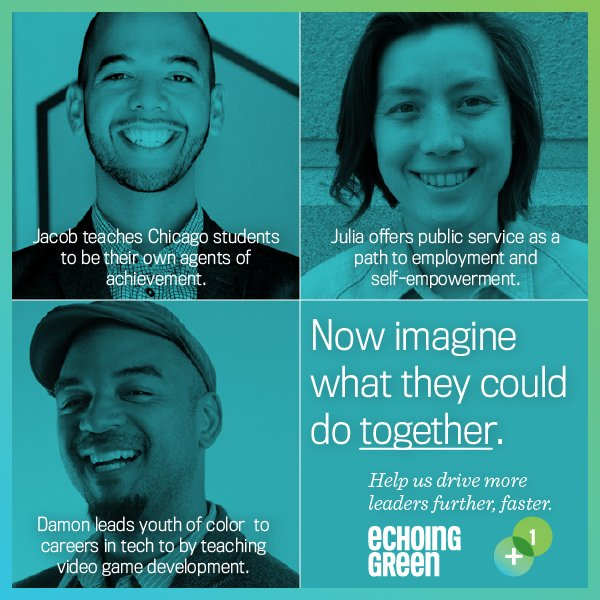 Meet @echoinggreen's 2016 Finalists—imagine what they can do TOGETHER: https://t.co/btXOHASRDx #socent #EGplus1 https://t.co/teXOsELg7R