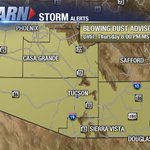 .@NWSTucson wasting no time getting the word out today. Blowing Dust Advisory until 8 PM. #PullAsideStayAlive #azwx https://t.co/t78JJaTRyQ