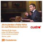 👉¡No te pierdas mañana por la mañana a @yanez_pablo en @mananascuatro! 📺 Viernes 6 de mayo a las 11:20 horas #Burgos https://t.co/x0GcGBRvpr