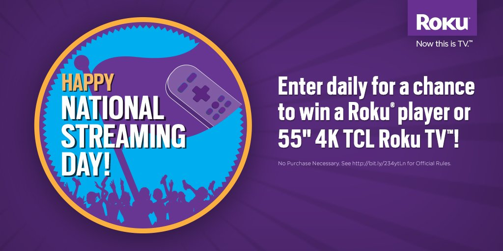 #StreamingDay is coming on May 20!  Enter to win a @TCL_USA Roku TV or a new #Roku device: https://t.co/SERHe0E6dz