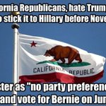Phone Banking For Bernie in CA? Encourage Repubs to vote Clinton OUT! By Voting Bernie! #FeelTheBern #NeverHillary https://t.co/k0bQ4EK1Jc