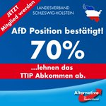 70% der Bürger bestätigen #AfD Forderung, dass das #TTIP Abkommen abzulehnen ist. https://t.co/0kNVD2Q5pV https://t.co/PBFnWbsBOo