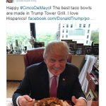 "Donald Trump shares Cinco de Mayo-centric photo of himself with a taco bowl and the message that ""I love Hispanics!"" https://t.co/EKK0isddRp"