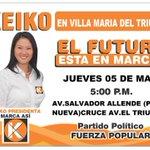 Hoy nuestra lideresa @KeikoFujimori llega a Villa María del Triunfo #ElFuturoEstáEnMarcha https://t.co/B1FSMsluGo