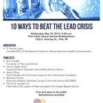 """Mark your calendars! Tues, May 18, 5:30 PM @flintlibrary """"10 Ways to Beat the Lead Crisis"""" #Flint #FlintWaterCrisis https://t.co/xNWGr5v58Y"""