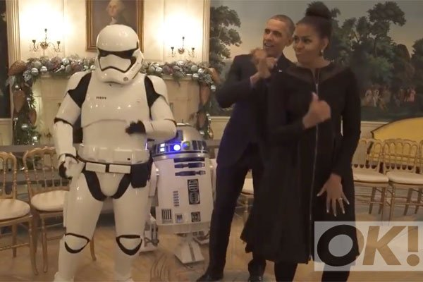 LOL! Watch Barack and Michelle Obama challenge some Storm Troopers to a dance off: